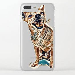 a cute dog on an isolated white background        - Image Clear iPhone Case