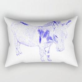 mini donkey drawing, blue Rectangular Pillow