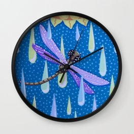 Dragonfly Dance in the Rain Wall Clock