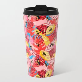 Beautiful illustration of a jungle with the frogs Travel Mug