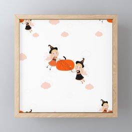 Happy Halloween background with cute fairy holding pumpkin seamless pattern Framed Mini Art Print