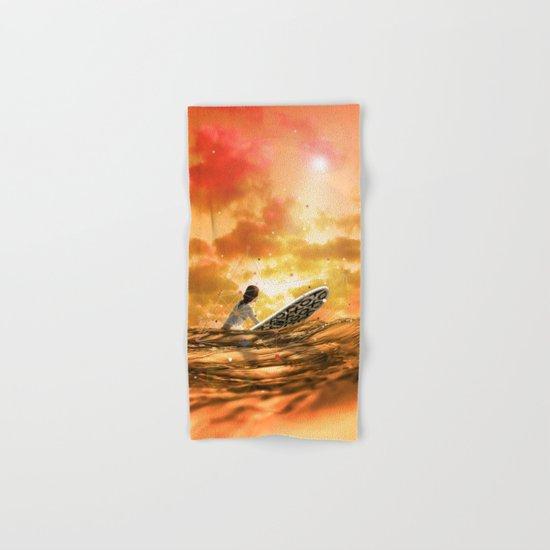 SURFING IN ORANGE CRUSH Hand & Bath Towel