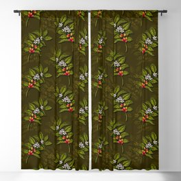 Coffee Plant Branches w/ Coffee Cherries & Flowers Blackout Curtain