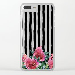 Black white brushstrokes pink watercolor floral stripes Clear iPhone Case