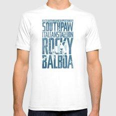 Rocky Balboa Minimal Vector Film Poster White MEDIUM Mens Fitted Tee