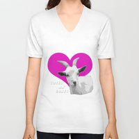 totes V-neck T-shirts featuring Totes Ma Goats Pink by BACK to THE ROOTS