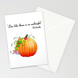 """""""Live like there is no midnight"""" Cinderella Stationery Cards"""
