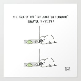 Mochi the pug's toy under the furniture Art Print