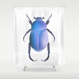Blue Egyptian Scarab Beetle Shower Curtain