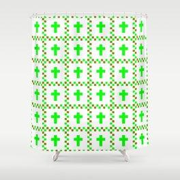 Christian Cross 38 green Shower Curtain