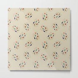 Mid mod multi colour arrows on cream Metal Print