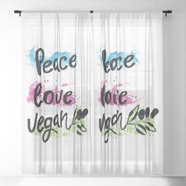 Peace love vegan Sheer Curtain
