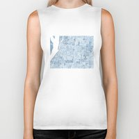 blueprint Biker Tanks featuring Memphis Tennessee blueprint watercolor map by Anne E. McGraw