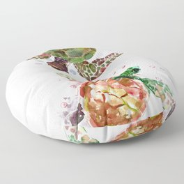 Turtles, Olive Green Cherry Colored Sea Turtles, turtle Floor Pillow