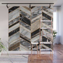 Abstract Chevron Pattern - Black and White Marble Wall Mural
