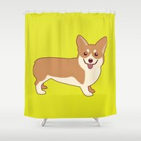 corgi Shower Curtains featuring Corgi Dog by TinyBee