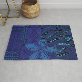 Samoan Blue Malu Mana Tribal Collage Rug