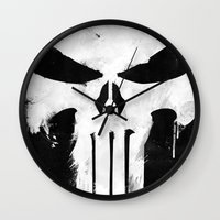 punisher Wall Clocks featuring Punisher White by d.bjorn