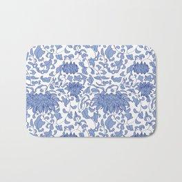 Chinoiserie Vines in Delft Blue + White Bath Mat