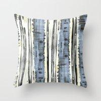 birch Throw Pillows featuring Birch by Sand Salt Moon