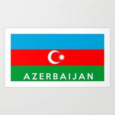 Azerbaijan country flag name text Art Print