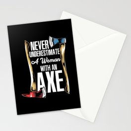 Axe Throwing Girl - Wood Chopping Woman Gift Stationery Cards