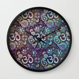Sweet watercolor pastel  OM symbol pattern Wall Clock
