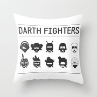 foo fighters Throw Pillows featuring Darth Fighters by Nillustra™