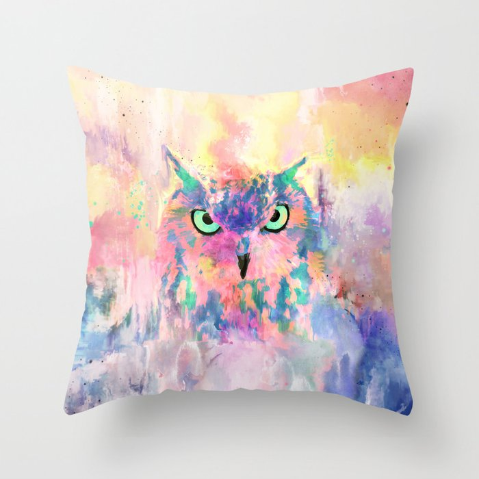 Watercolor eagle owl abstract paint Throw Pillow
