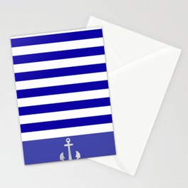 Blue And White Stripes Anchor Stationery Cards