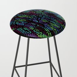 Purple and Green Doodle 14 Bar Stool