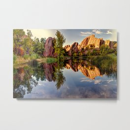 Red Rocks Reflection Metal Print