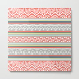 Boho Mandala Coral Striped Pattern Metal Print