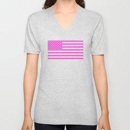 U.S. Flag: Pink Unisex V-Neck