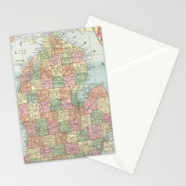 Vintage Map of Michigan (1901) 2 Stationery Cards