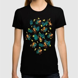 Tropical Monkey Banana Bonanza on Black T-shirt