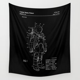 NASA Space Suit Patent - White on Black Wall Tapestry
