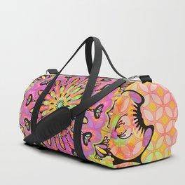 Pastel Rainbow Flower Mandala, Ultra Violet Geometric Boho Kaleidoscope Popart Duffle Bag