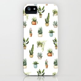 Hand painted teal green orange watercolor tropical floral cactus iPhone Case