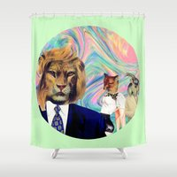 darwin Shower Curtains featuring Darwinism by Laura Nadeszhda