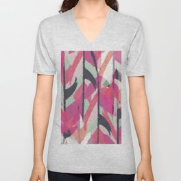 Abstract watercolor pink black teal aztec Unisex V-Neck