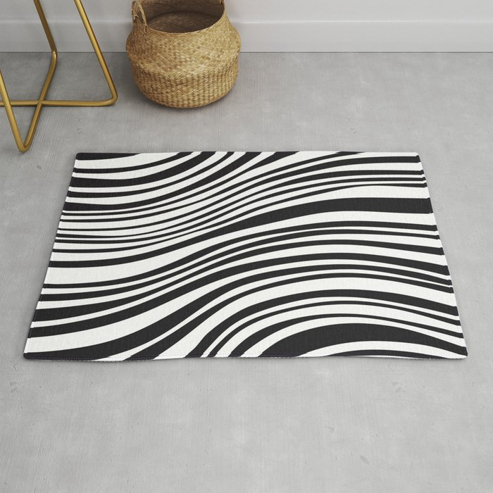 Modern Black White Stipes Zebra Animal Rug By Goodpatternbest