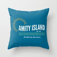 1975 Throw Pillows featuring Amity Island Vintage 1975 - Jaws by Dukesman
