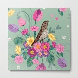 Birds in a Spring Garden on Green Metal Print