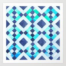 Tribal Blue Watercolor Art Print