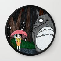 tim burton Wall Clocks featuring Tim Burton Totoro by Grace Isabel