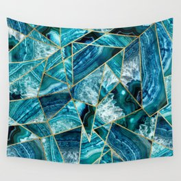 Turquoise Navy Blue Agate Black Gold Geometric Triangles Wall Tapestry