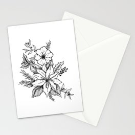 Poinsettia Florals & Winter Berries Stationery Cards
