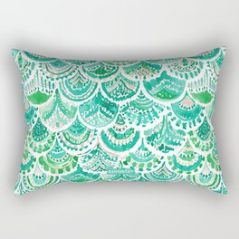 VENUS DE MER Green + Blush Mermaid Scales Rectangular Pillow