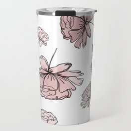 Hand Drawn Peonies Dusty Rose Travel Mug